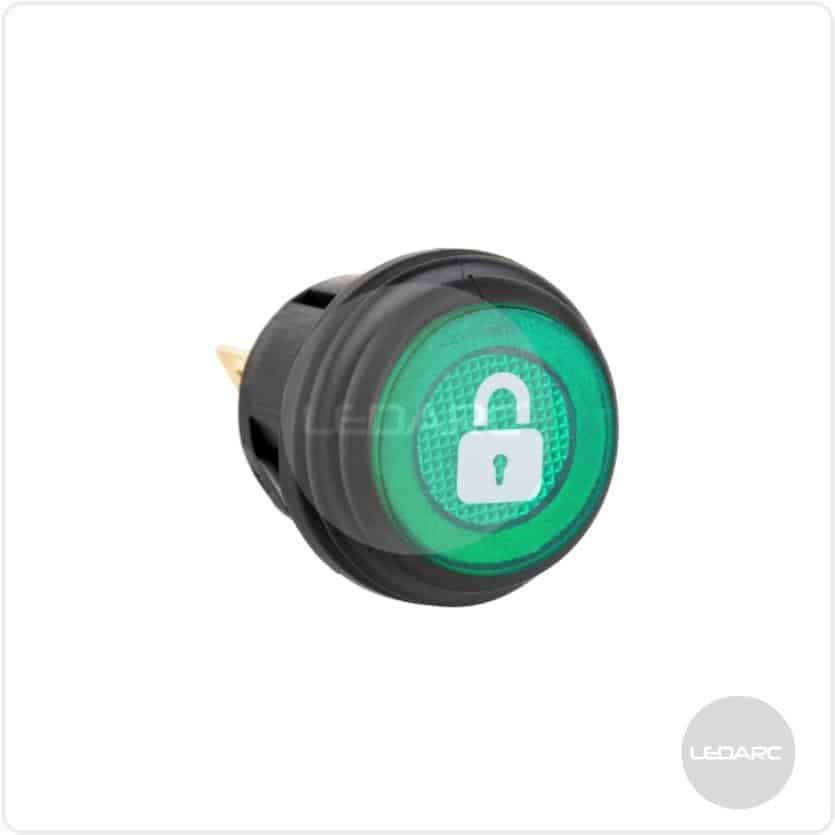 SWL Green LED Push On/Off Switch With Splashproof Seal & Logo, 12V