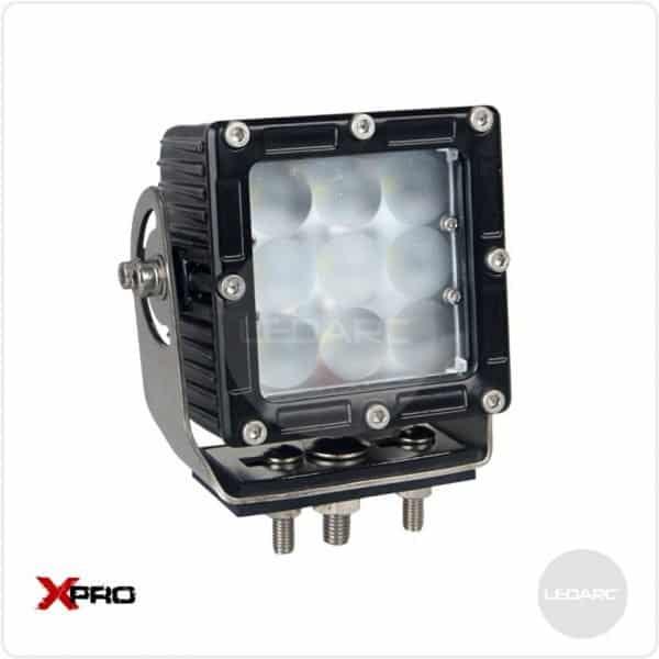 XPRO33F Square Heavy Duty LED Work Lamp, 12/24volts, Flood beam, ECE approved