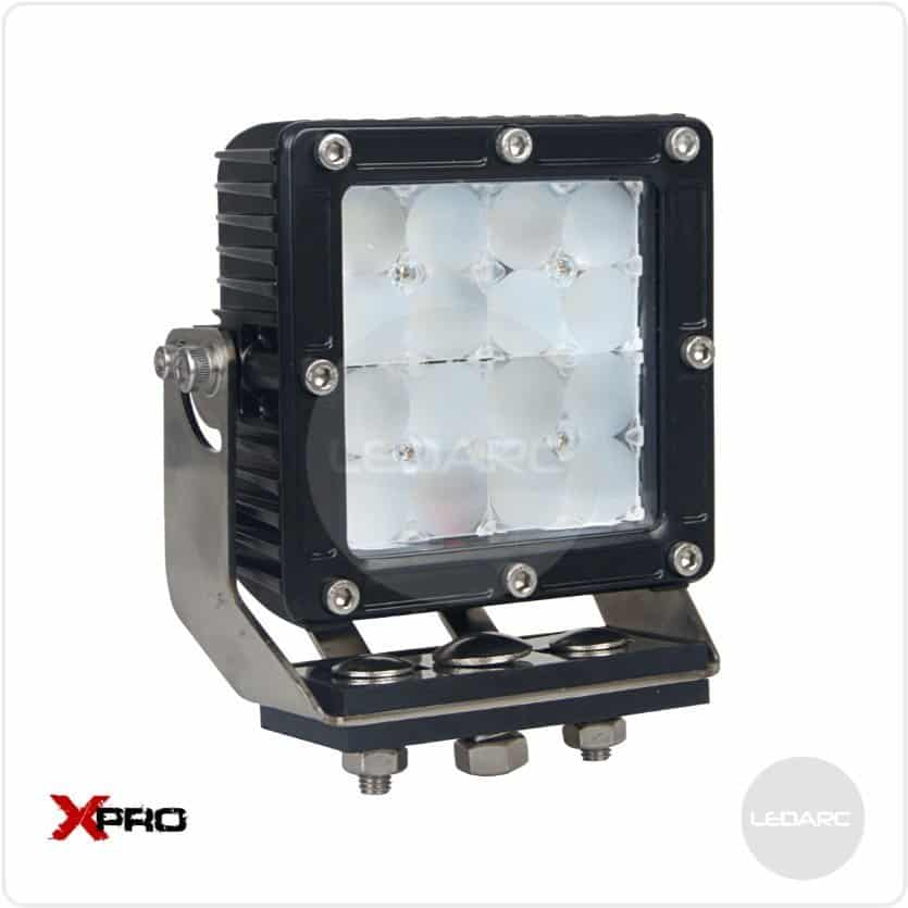 XPRO44F Square Heavy Duty LED Work Lamp, 12/24volts, Flood beam, ECE approved