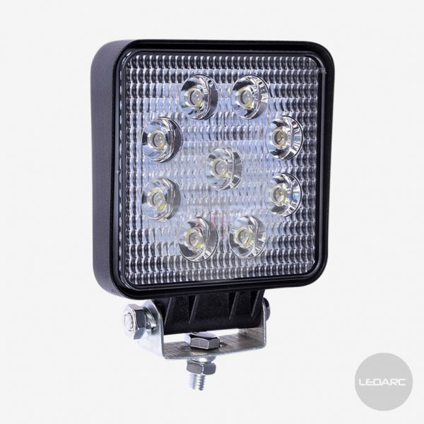 105F series Square LED Work Lamp with 4M of cable, Flood Beam, ECE approved