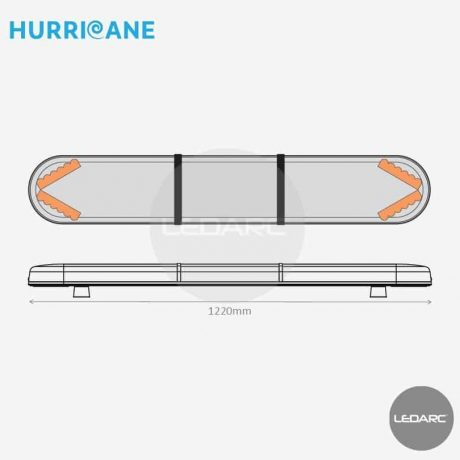 Rampe Lumineuse LED Hurricane HUR12204AC, 1220mm, 24 LEDs orange de LEDARC