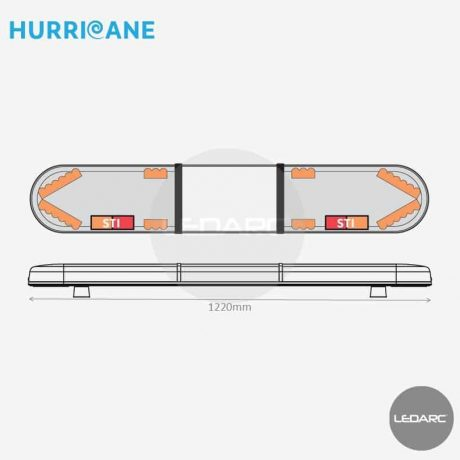 Rampe Lumineuse LED Hurricane HUR122083STII, 1220mm, 36 LEDs orange, STI, Enseigne LED