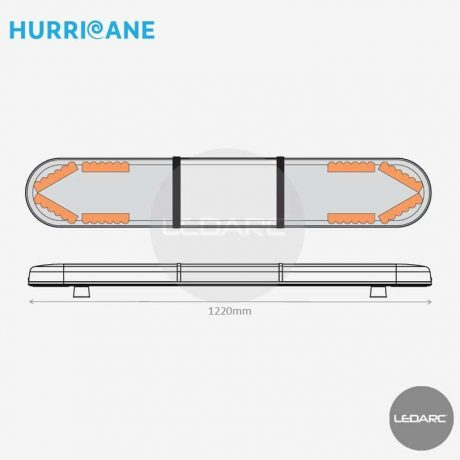 Rampe Lumineuse LED Hurricane HUR12208IAC, 1220mm, 48 LEDs orange, Enseigne LED de LEDARC