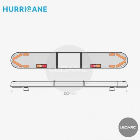 Rampe Lumineuse LED Hurricane HUR152483STIIAC, 1524mm, 36 LEDs orange, STI, Enseigne LED
