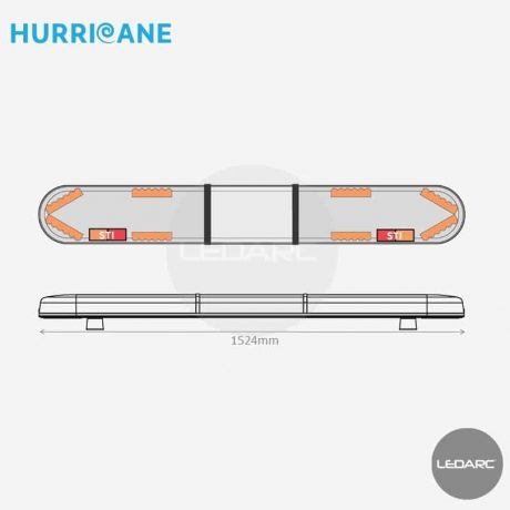 Rampe Lumineuse LED Hurricane HUR15248STII, 1524mm, 48 LEDs orange, STI, Enseigne LED
