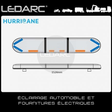 Rampe Lumineuse LED Hurricane HUR152463ABC, 1524mm, cabochons transparents de LEDARC(10)