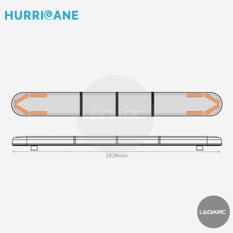 Rampe Lumineuse LED Hurricane HUR18288AC, 1828mm, 48 LEDs orange de LEDARC