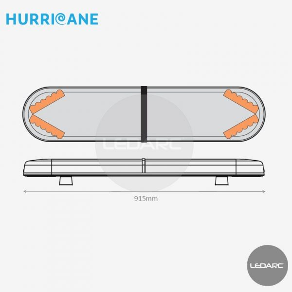 Rampe Lumineuse LED Hurricane HUR9154AC, 915mm, 24 LEDs orange de LEDARC