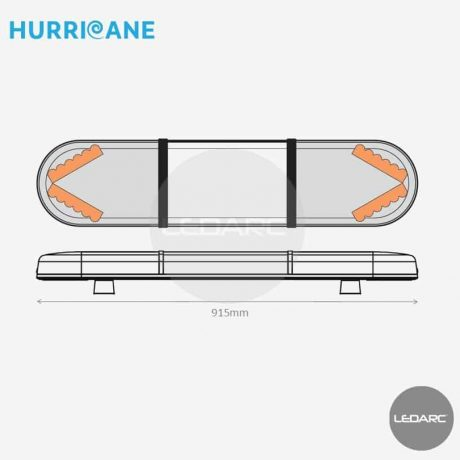 Rampe Lumineuse LED Hurricane HUR9154IAC, 915mm, 24 LEDs orange, Enseigne LED de LEDARC